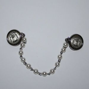 Vintage silver pearl Liberty bell collar clip